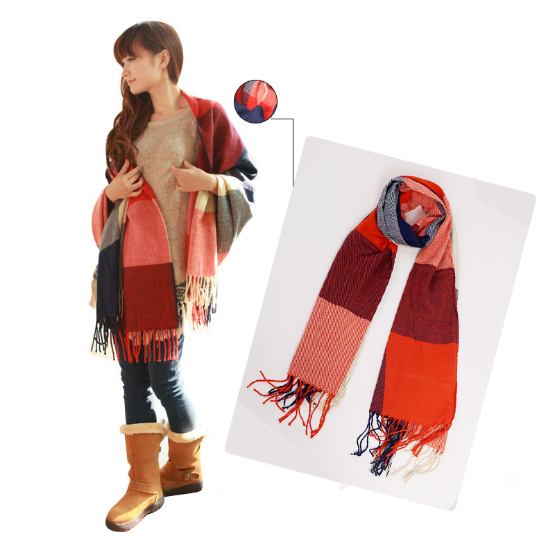 Female Women Scarf  Autumn Winter FashionWool Plaid Thick Scarves Shawl Spain Soft Warm Scarf Muffler With Tassel