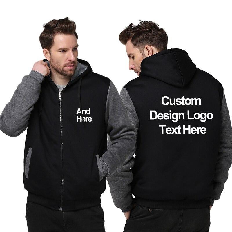 Livraison directe Logo bricolage Personnalisé Sweat À Capuche Personnalisé Fait Impression Logo sweaters à capuche graphique Sweat Veste Manteau taille américaine
