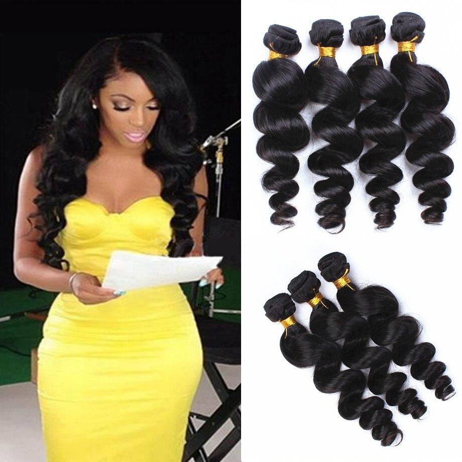 Crochet Hair Extensions 7a Peruvian Loose Wave Remy Human Hair 4pcs