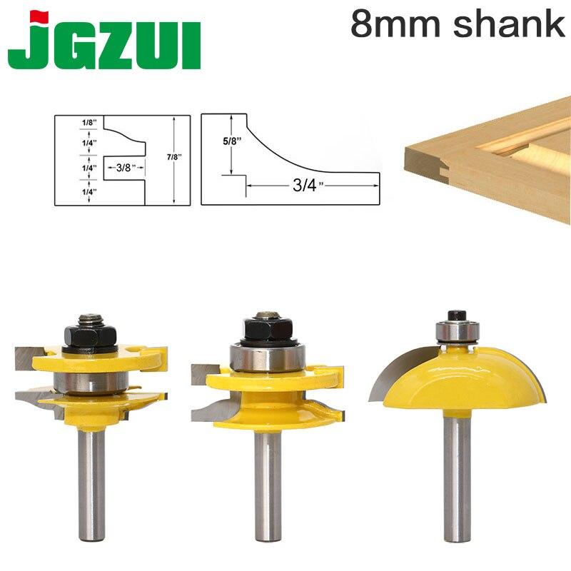 3 pz 8mm Shank Pannello Alzato Porta Dell'armadio Router Bit Set Legno cutter lavorazione del legno frese carburo bit porta coltello RCT