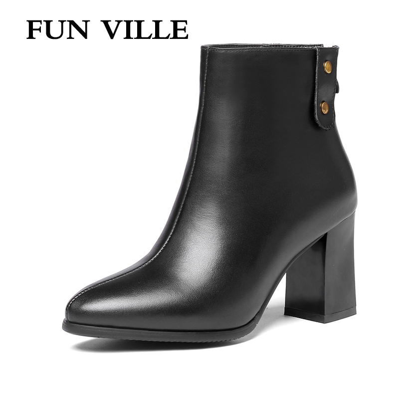 FUN VILLE 2018 Autumn winter New Fashion Women Ankle boots cow leathe High heels sexy ladies shoes Pointed toe zipper size 34-45
