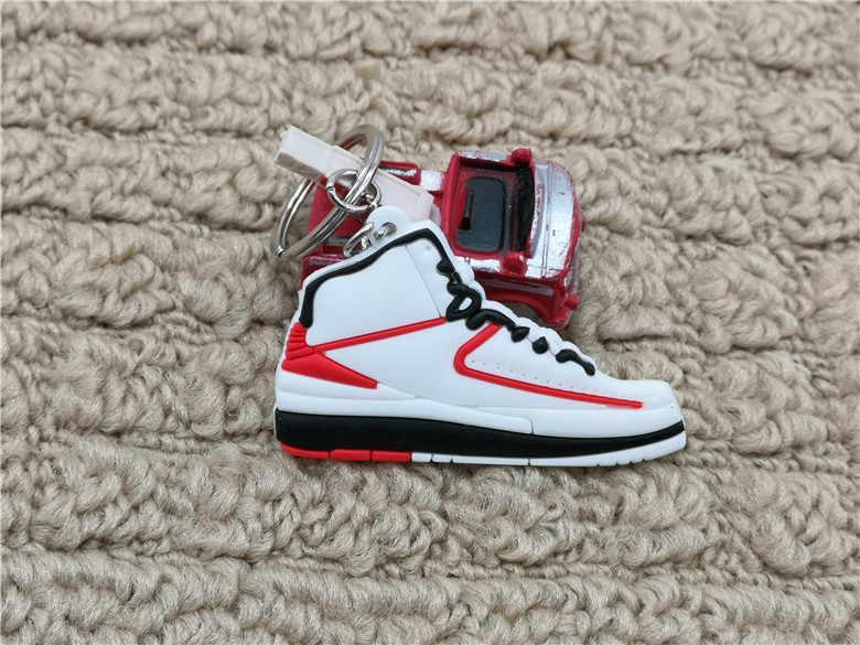ミニシリコーンジョーダン 2 靴キーチェーンバッグチャーム女性男性子供キーリングギフトスニーカーキーホルダーペンダントアクセサリーキーチェーン