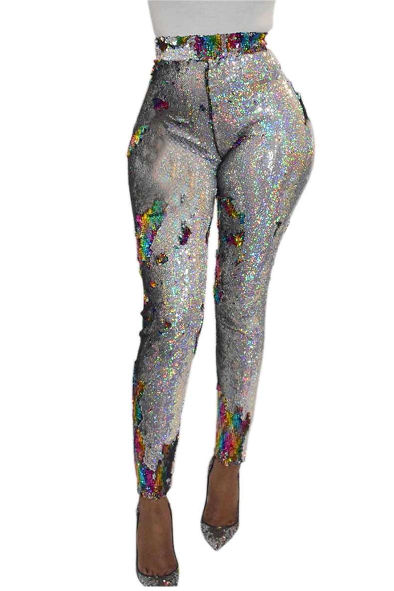 Women High Waist Skinny Sequins Glitter Pants Ankle-Length Pencil Pants Plus Size Sequined Party Trousers Clubwear Streetwear