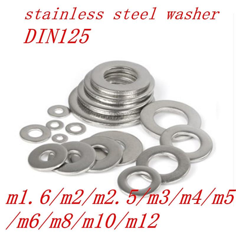 Плоская шайба DIN125 M1.6 M2 M2.5 M3 M3.5 M4 M5 M6 M8 100 из нержавеющей стали, плоская шайба, плоская прокладка, 304 шт./50 шт.