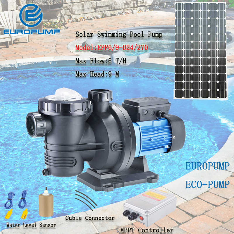 EUROPUMP DC 24V solar power swimming pool pumps 2 years warranty Max flow  6T/H Lift 9M solar surface pump MODEL(EPP6/9-D24/270)