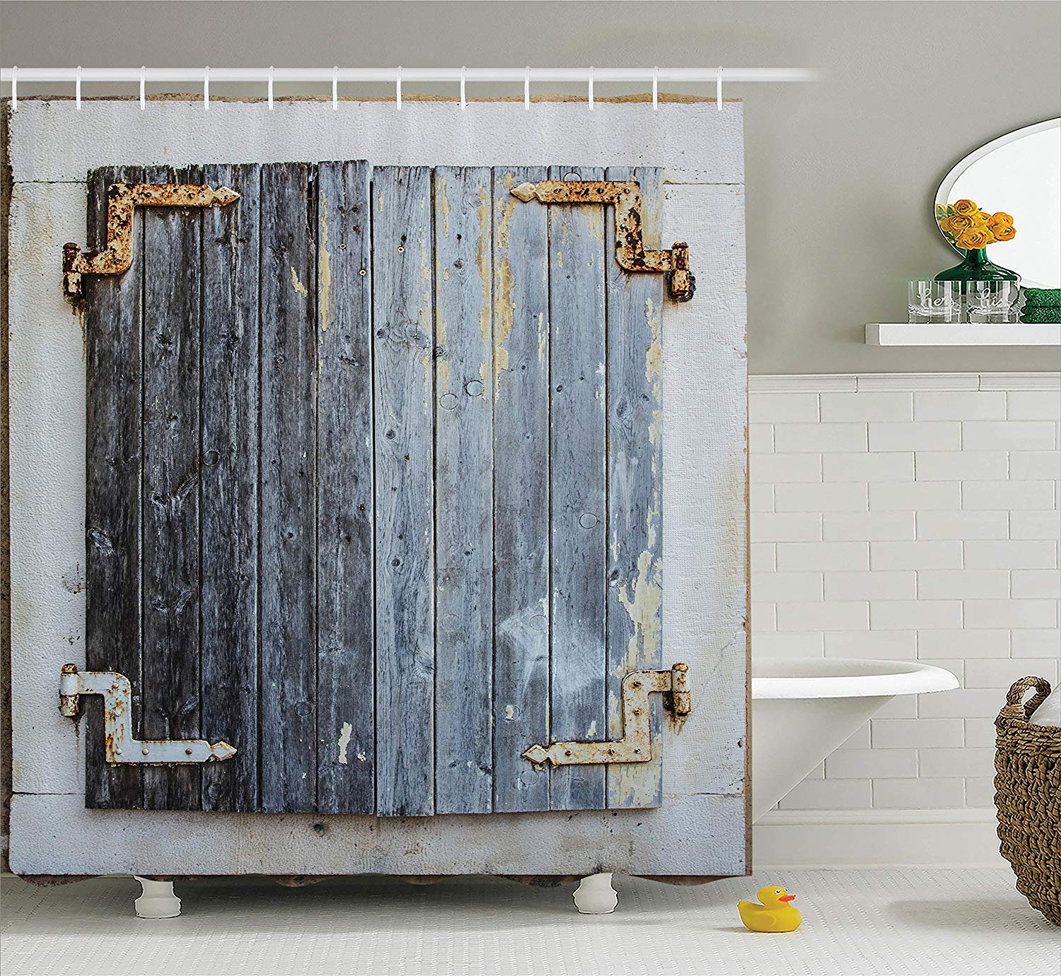 Us 12 8 30 Off Shower Curtain Rustic Wooden Window Shutters With Shabby Paint Rusty Antique Traditional Village Picture Bathroom Accessories In