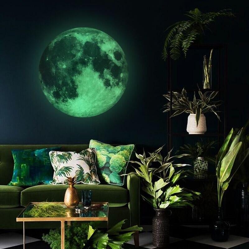 30cm Luminous Moon DIY 3D Fluorescent Wall Stickers Childrens Bedroom Mural Dark Wallpaper Accessories
