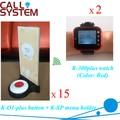 Restaurante do número da mesa chamando sistema 2 relógios de pulso 15 buzzer 15 placa do menu equipamentos de serviço