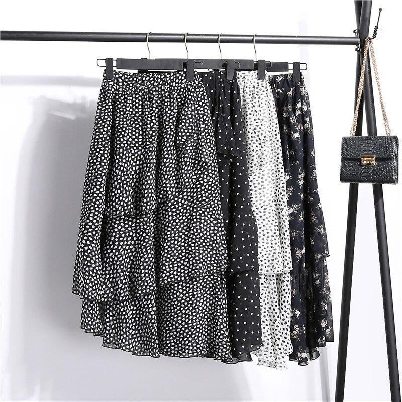 Chiffon Skirt Womens 4 Styles Ruffles Elastic Print Floral Dots Women Skirts 2019 Kpop Irregular Elastic High Waist Faldas Mujer