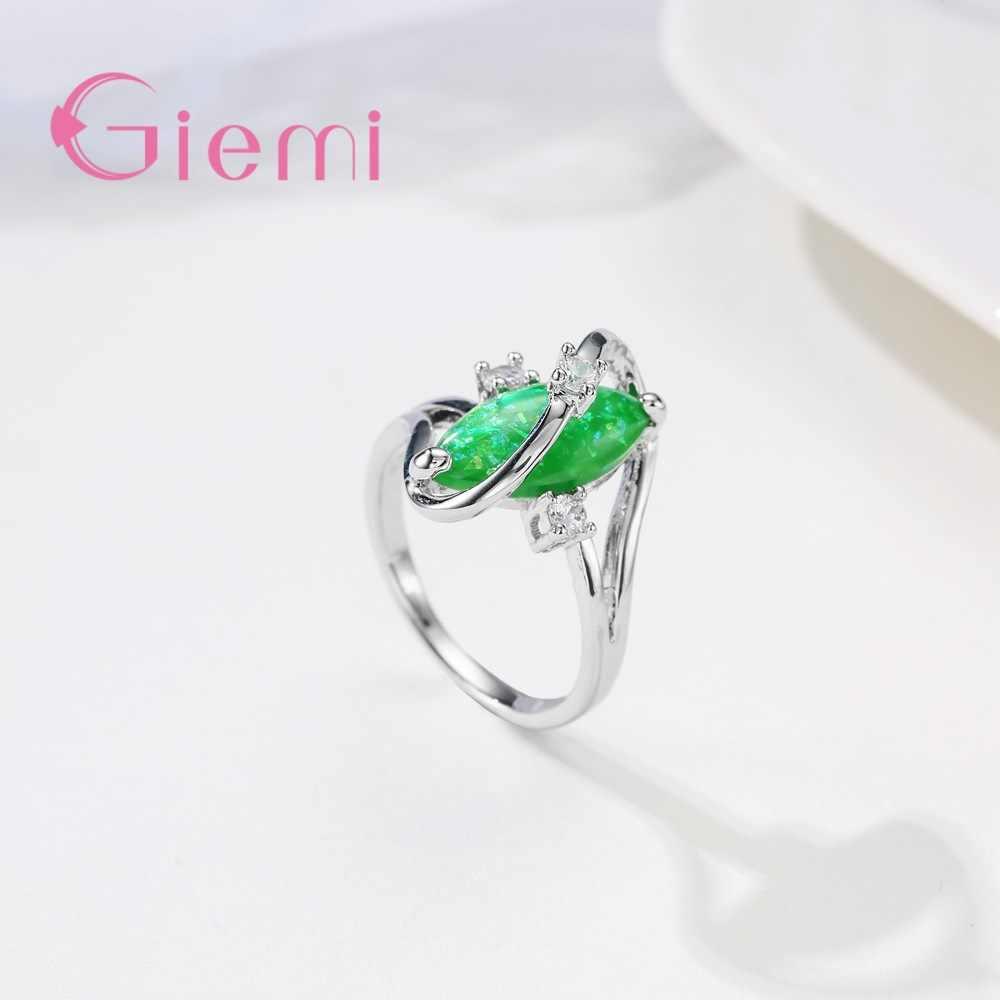 الأزياء غرامة النساء حلقة تمهيد الأخضر لامعة مكعب زركونيا الفضة مجوهرات آنيل للرجال النساء ترويج الجملة