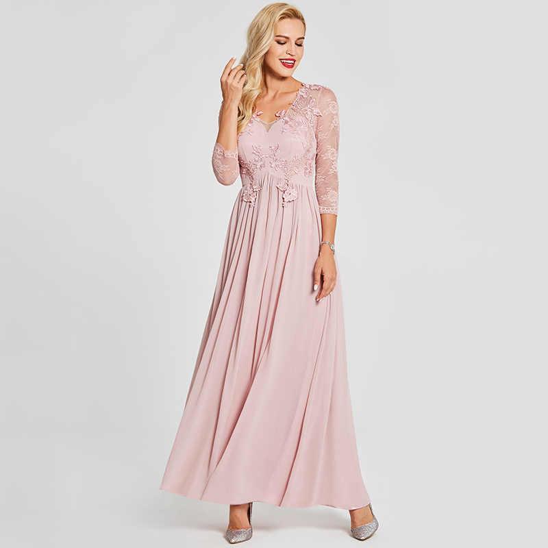 9d15874d037 ... Tanpell appliques long prom dress pink v neck floor length a line gown  women long sleeves ...