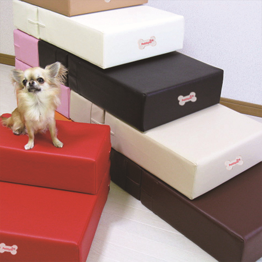 Pu Leather Pet Cat Dog Bed Stairs Ramp Mat For Small Dog Antislip Foldable Pet  Steps With 2steps With Detachable Cover