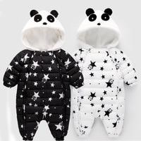 Panda Baby Snow Wear Stars Prints Cute Winter Warm Down Rompers Bodysuit Jumpsuit Newborn Boy Girl Snowsuit Kids infant jacket