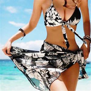 f593a82ff5ee5 3 pcs Set Bikini with cover up Sexy Women Swimsuit Skirt Swimwear Tankini  Swimwear