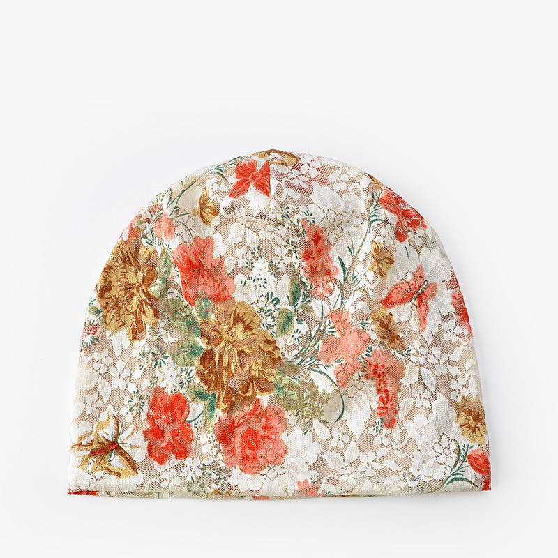 Chinese style beanies Women in the autumn Han edition turban confined in winter cap Ethnic style lace cap