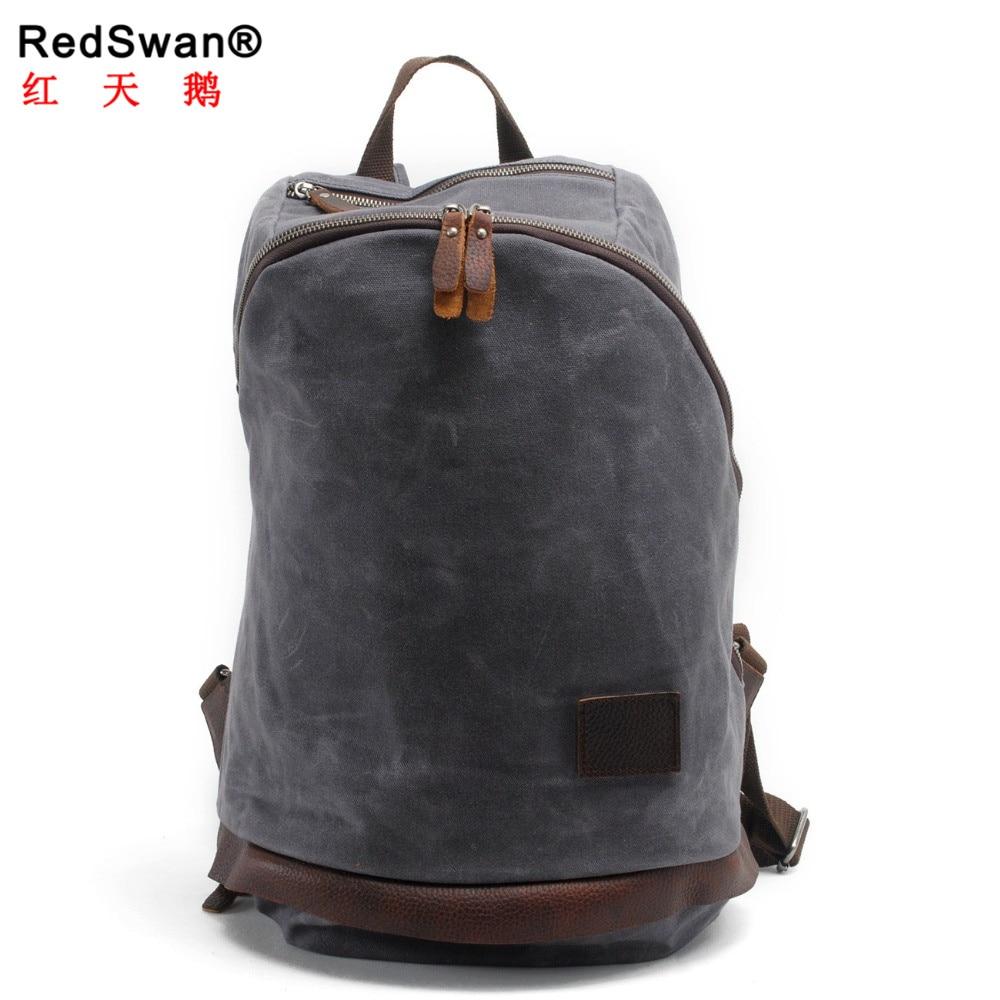 c86ffa07d vintage men travel backpac Fashion Canvas women day backpack Waxed canvas  shoulder bag