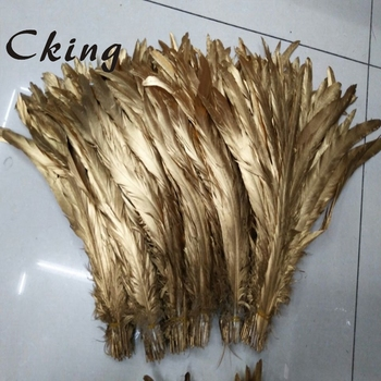 Wholesale 50pcs 30-35cm/12-14 inch Single Golden yellow Rooster feather Cock Tail Feather Chicken feather Rooster tail feather фото