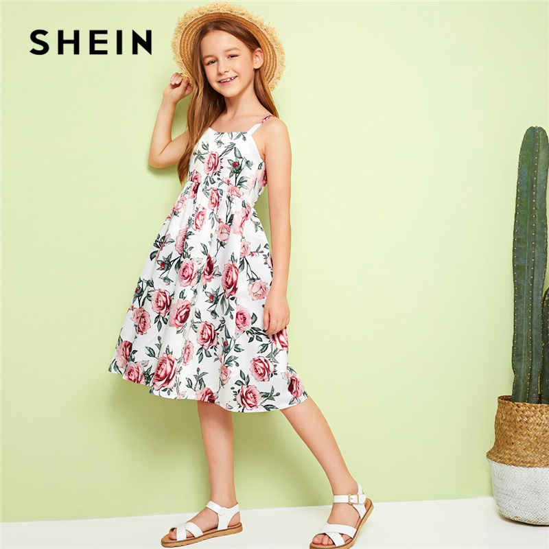 SHEIN Kiddie Girls Floral Print Zipper Back Boho Beach Sundress Kids 2019 Summer Holiday Sleeveless Knee Length Flared Dresses(China)