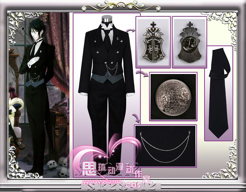 Anime Black Butler Cosplay Costume Kuroshitsuji 2 Sebastian Cosplay Costume Sebastian Michaelis Uniform Swallowtail Accessories