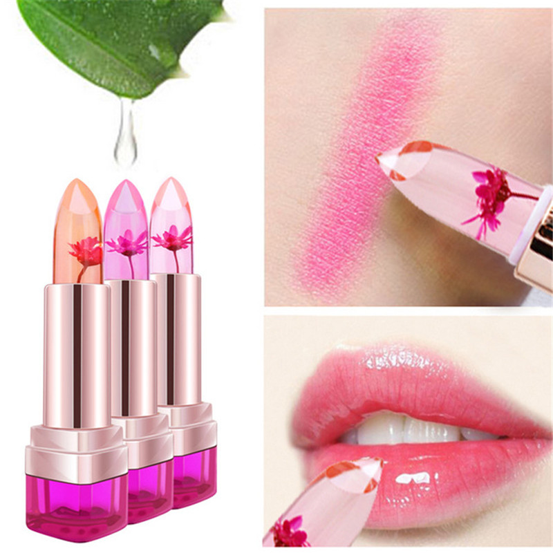 2016 Temperature Change Color Lip Balm 3 Color Waterproof Long-lasting Sweet Transparent Jelly Flower Pink Moisturizer Lipstick 1