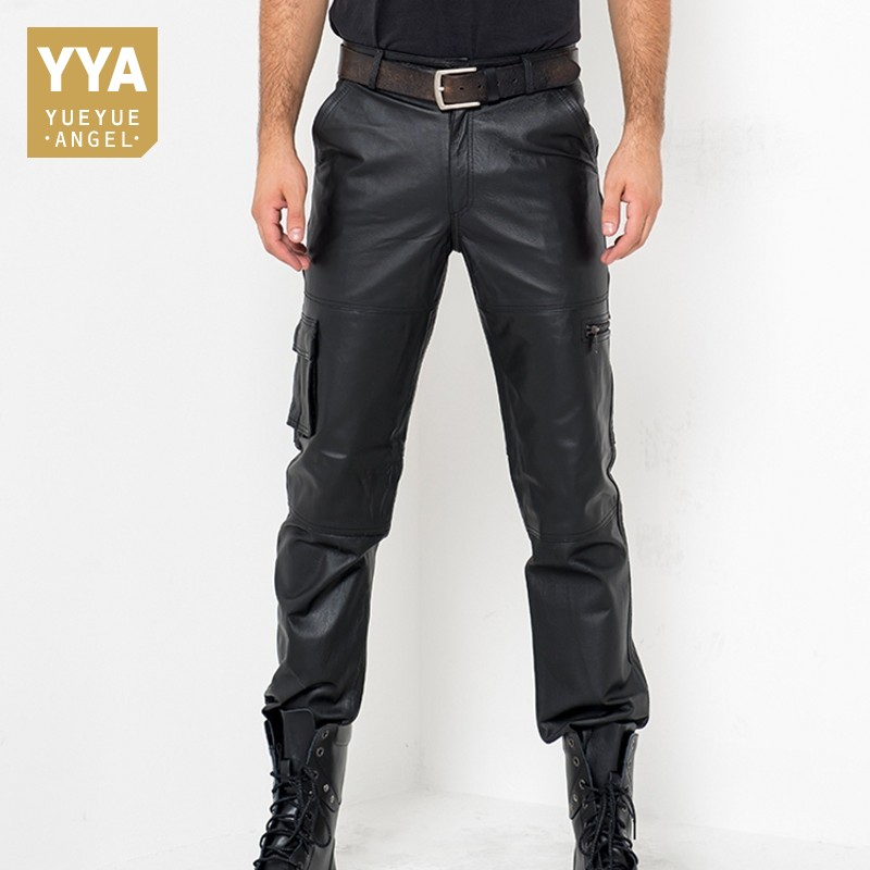 Calca Masculina Autumn Fashion Casual Trouser Genuine Leather Streetwear Motor Style Men Classic Zipper Comfort Full Length Pant