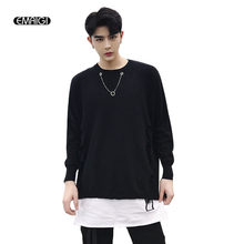 Men Harajuku Necklace Bat Sleeve Hole Knit Sweater Streetwear Punk Gothic Hip Hop Loose Pullover Sweater(China)