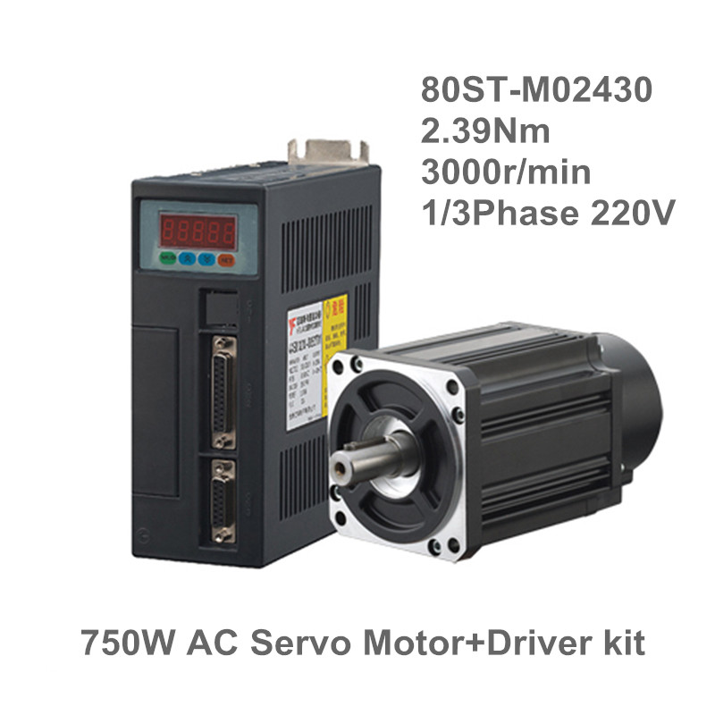 750W ac servo motor 0.75KW AC servo set 2.39N.M 80ST M02430 Matched Servo Driver CNC Machine upgrade