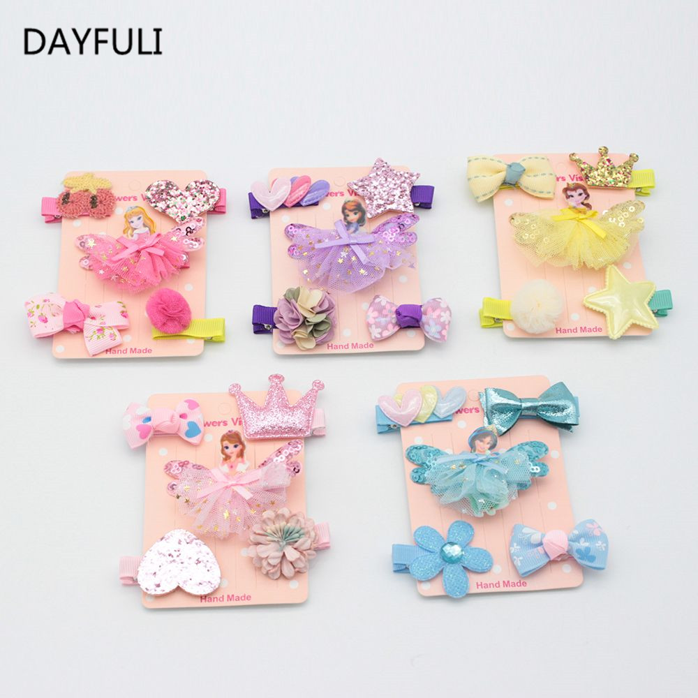 5PCS Mixed Color Cartoon Princess Design Hair Clip Accessories For Girls BabiesShiny Crown Yarn Bow Chiffon Hairpins Grid Yarn W