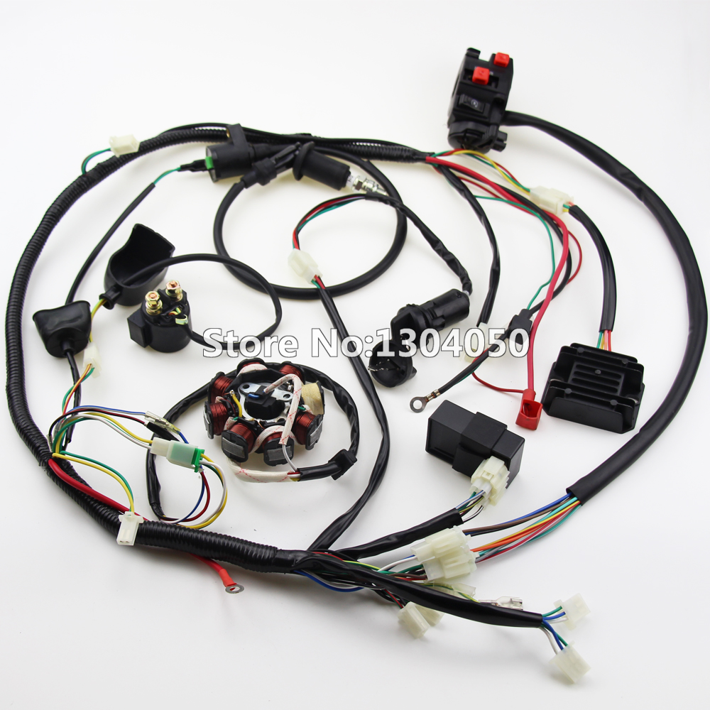 Full Wiring Harness Loom Solenoid Coil CDI Relay for 150cc Chinese ATV Quad