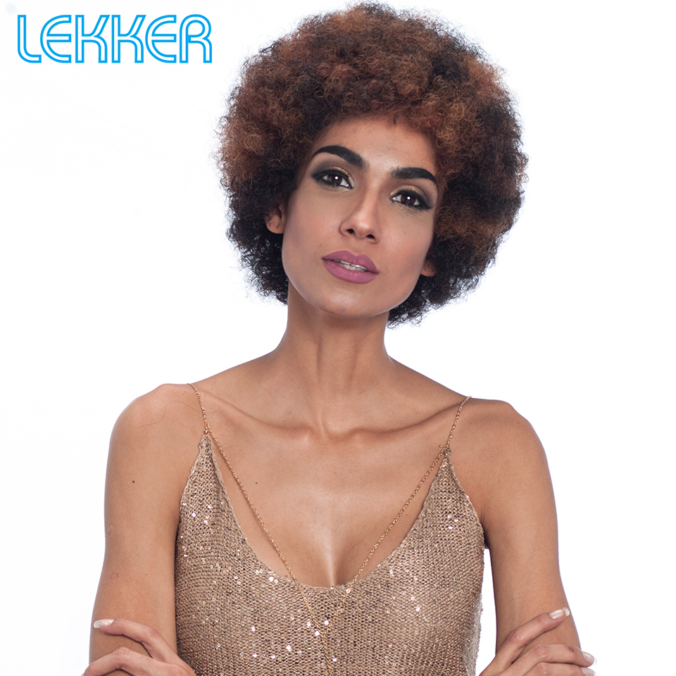 Lekker Human Hair Wigs Brazilian Remy 100%Human Hair Afro Kinky Curly Style Wigs Machine Made Short Wigs For Women Free Shipping