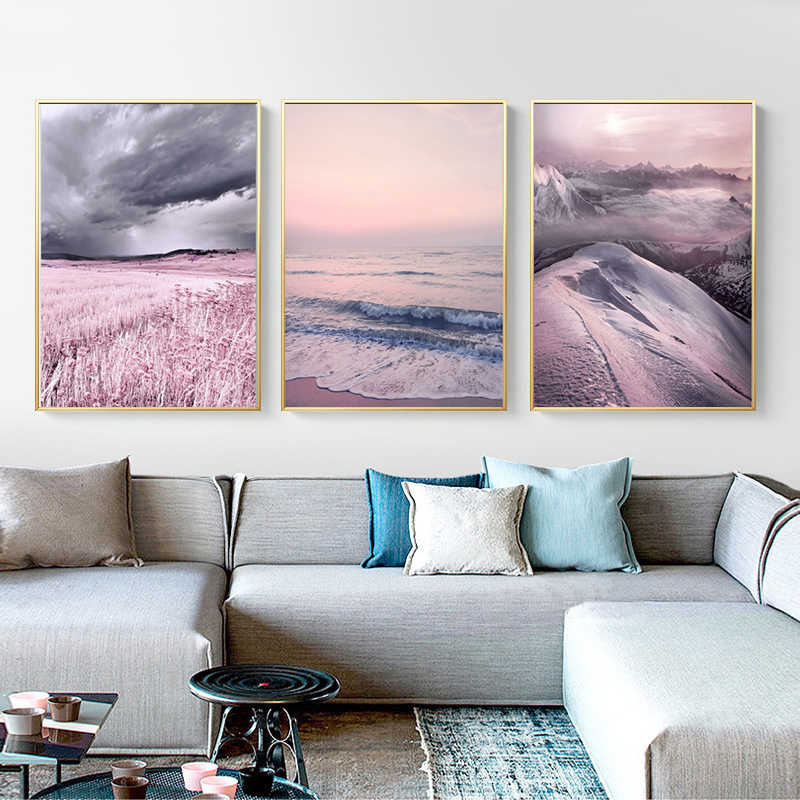 Nordic Posters Canvas Art Print Lavender Sea Wall Painting Purple and Prints Wall Pictures for Living Room Kids Bedroom Decor