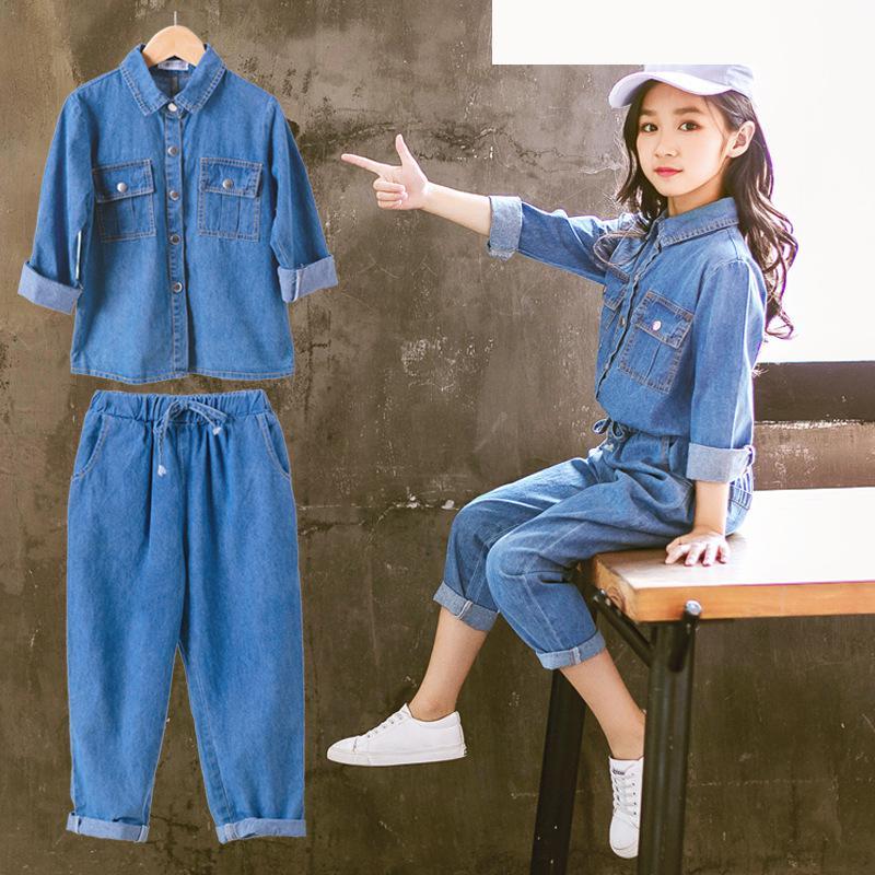 2018 nouveau bambin filles vêtements ensembles automne bébé fille vêtements Boutique retour à l'école tenues Denim Blouses chemises + pantalons Jeans