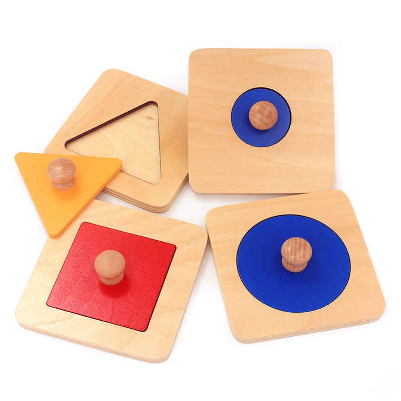4Pcs/Lot Montessori Educational Wooden Toys Geometry Shape Insets 4 Sets Multicolor Hand Grasp Plate Math Toys Learning Toddlers