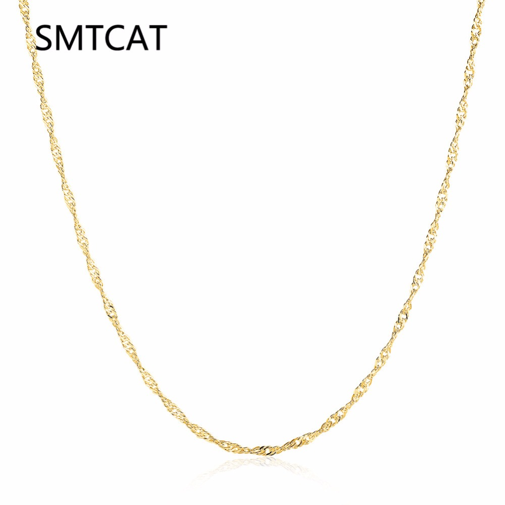 SMTCAT 1.5mm Women Girls 585 Jewelry Gold Color Twisted Water Wave Style Necklace Chains 46+5CM 18INCHS Colar de Ouro