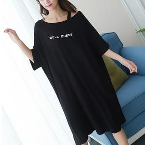 Image 1 - 2019 summer plus size home casual dress women letter print sleepdress cotton short sleeve strapless nightdress sleepshirts lady