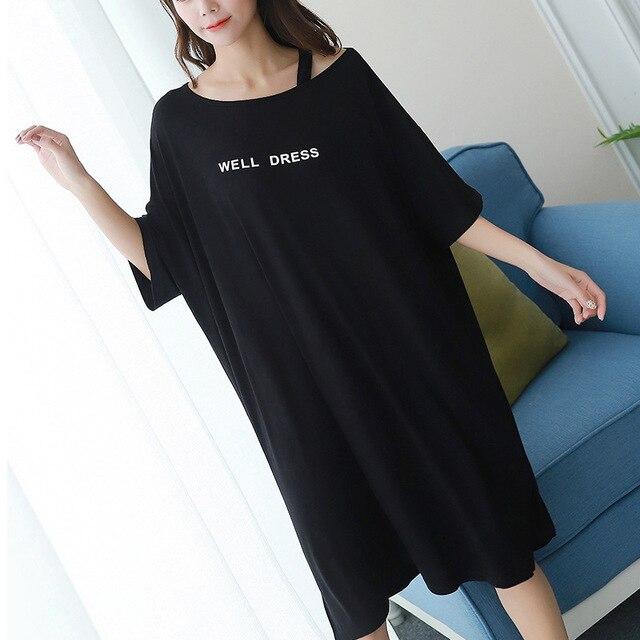 2019 summer plus size home casual dress women letter print sleepdress cotton short sleeve strapless nightdress sleepshirts lady