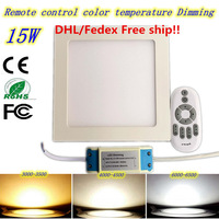 Ultra Thin Led Panel Downlight 15w 2 4G Remote Control Square LED Ceiling Recessed Light AC85