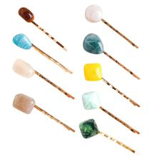 Fashion Women Girl Sweet Colorful Irregular Resin Stone Hairpin Side Bangs Hair Styling One Word Clip Metal Alloy Wavy Barrettes