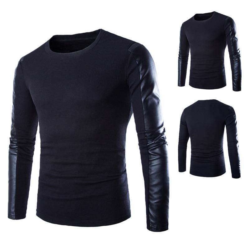 Высококачественная брендовая одежда осень-зима Для мужчин Свитеры для женщин Человек О-образным вырезом джемперы с длинным рукавом искусственная кожа хлопок лоскутное пуловер мужской большие размеры