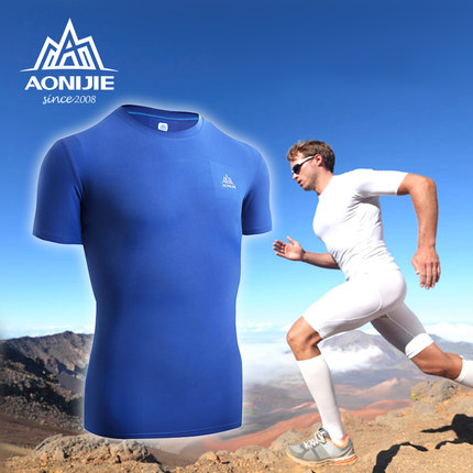 AONIJIE Mens Quick Dry Drying T-shirt Shirts Fitness Polo Fishing Hiking Short Sleeves Lightweight Sports Wear for Men Athletic