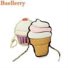 2017 Cartoon Cupcake Women Ice Cream Pattern Bag Lady Mini Leather Chain Clutch Crossbody Bag Girl Shoulder Cute Messenger Bag