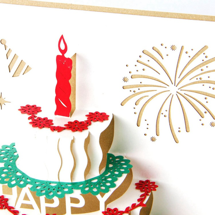 Ynaayu 1pcs 3D Happy Birthday Cakes Card Greeting Cards Handmade Design Bithday Party Supplies 1015cm In Invitations From Home Garden