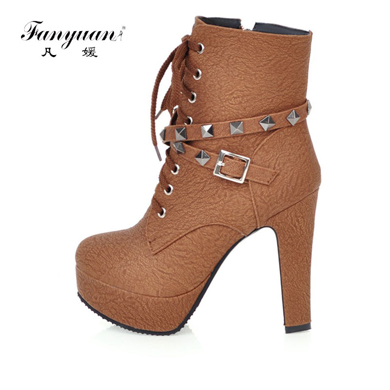 Fanyuan 2017 Fashion boots spring autumn buckle ladies shoes high heels boots round toe platform lace up ankle boots for women high quality genuine leather women shoes spring and autumn high heels women boots hollow out lace ladies fashion boots