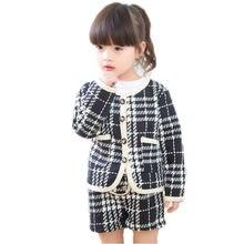 Детская зимняя одежда клетчатый осенний комплект для маленьких