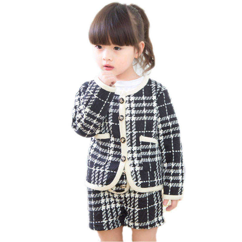 Kids Winter Clothes 2017 New Autumn Baby Girl Sets Long Sleeve Single Girls Children Clothing Top Plaid Blazer +Short Trousers 2017 new style spring autumn hoodie baby girl clothing set sequin lace long sleeve velour sports jacket long trousers outfits