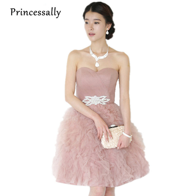 Dusty Pink Bridesmaid Dress For Wedding Party Dresses Tulle Silk Sweetheart Maid  Of Honor Dresses Formal Party Vestido De Novia 3a62b87e0