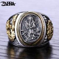 ZABRA Buddhism Dragon 925 Sterling Silver Male Ring Gold Retro Biker Man Rings Vintage Jewelry