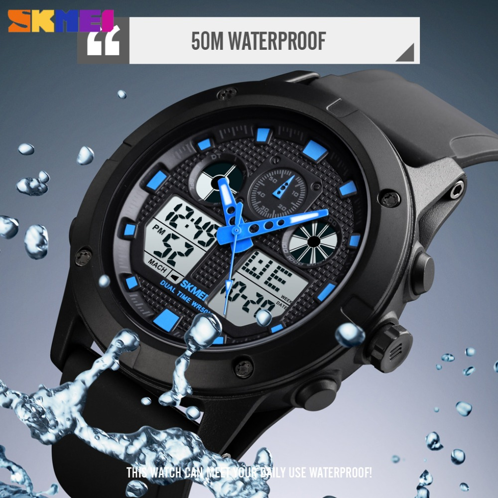 <font><b>SKMEI</b></font> Fashion Digital Outdoor Sport Watch Men New Luxury Military Waterproof Chronograph Dual Display Wristwatch Erkek Kol Saati image