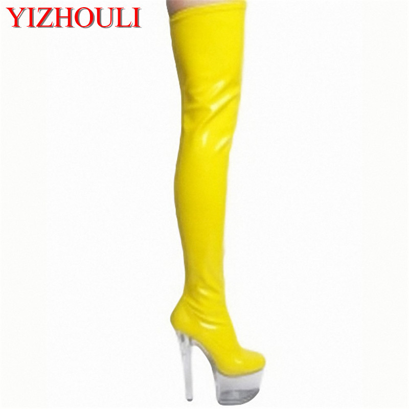 necessary 15cm super slim and sexy boots model runway shows shoes Noble temperament knee high boots