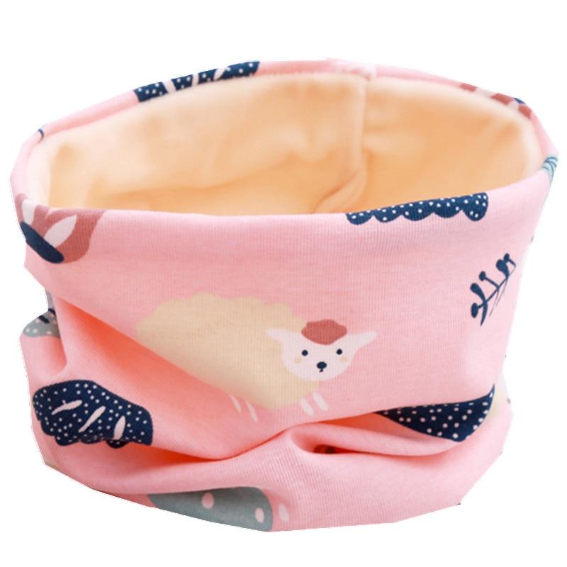 Осенне-зимний детский хлопковый плюшевый шарф, детский шарф для девочек, шарфы для мальчиков и девочек, детский воротник, детский волшебный шейный платок с круглым вырезом - Цвет: pink sheep